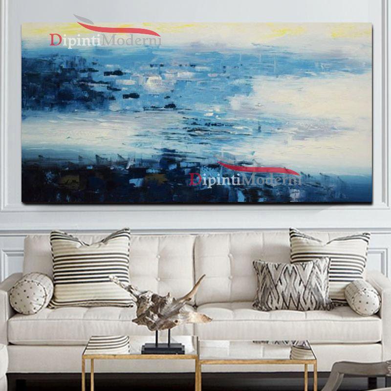 Dipinti su tela sfumature blu bianco astratti dipinti for Dipinti su tela astratti moderni