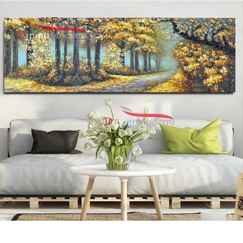 Dipinto a mano sentiero nel bosco dipinti moderni for Dipinti a mano moderni