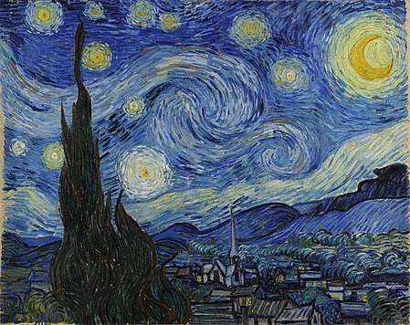 Notte stellata con cipressi