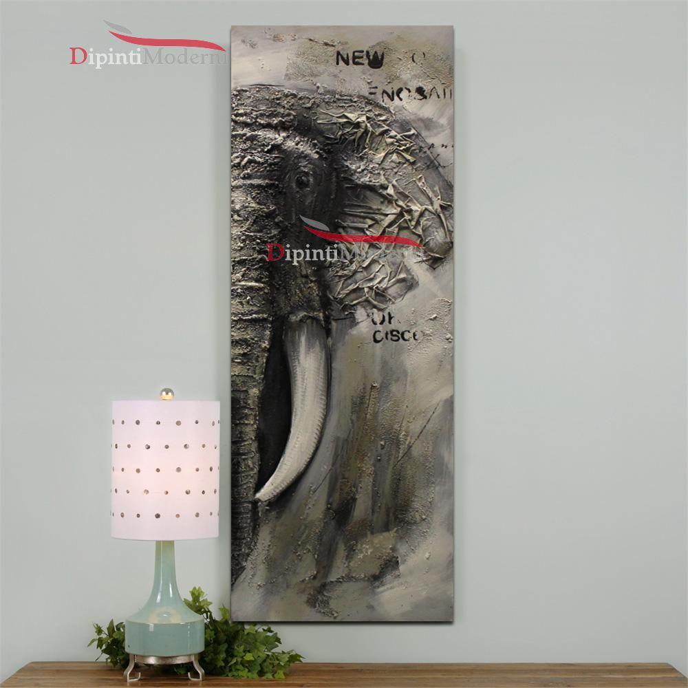 Quadri moderni verticali zanna elefante - Dipinti Moderni