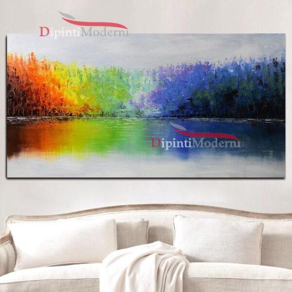 Quadri su tela alberi arcobaleno astratto