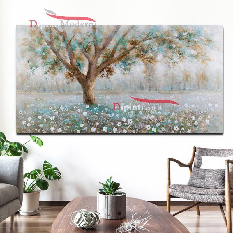 Quadri su tela paesaggio con albero rilassante dipinti for Quadri moderni su tela