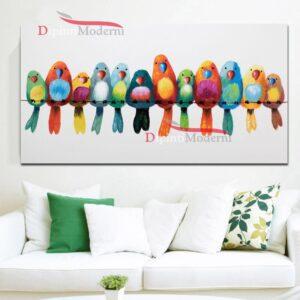 Quadri su tela uccelli colorati su trespolo