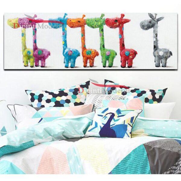 Quadro con giraffe colorate astratto