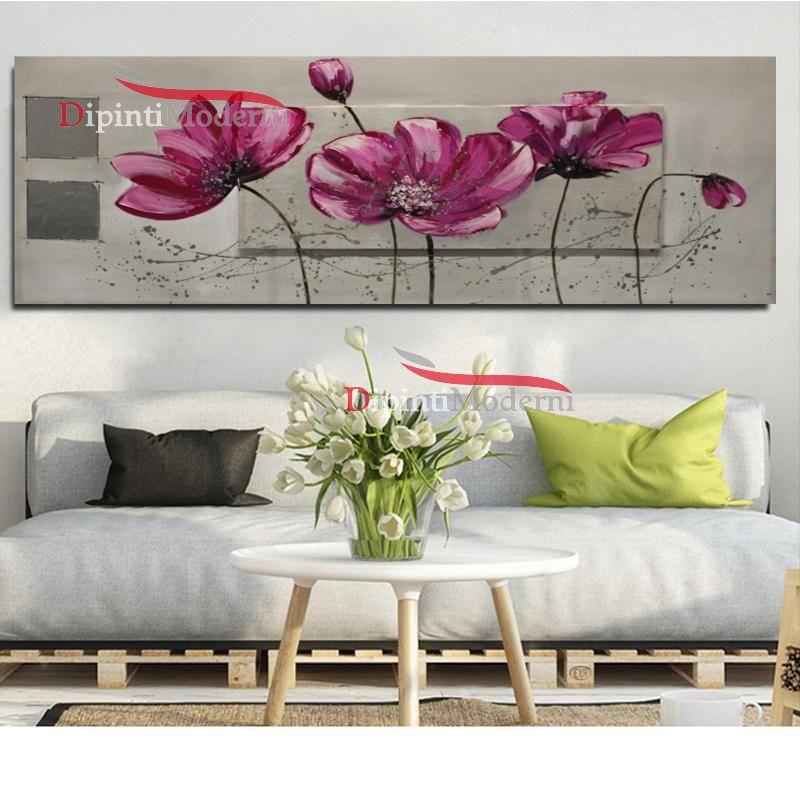 Quadro design moderno decorativo fiori lilla - Dipinti Moderni