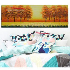 Quadro dipinto su tela alberi autunno paesaggio