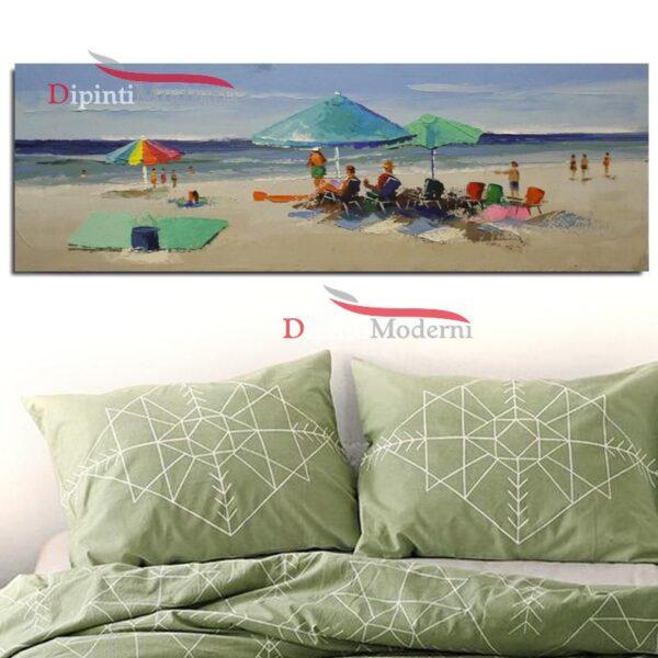 Quadro paesaggio marino spiaggia ombrelloni