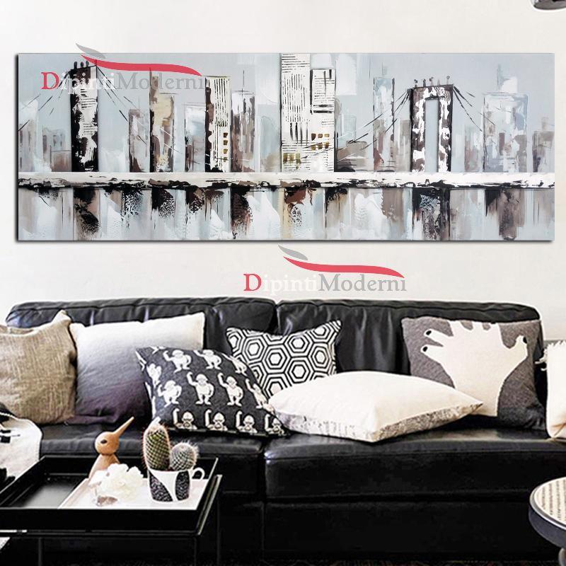 Quadro su tela divano salone ponte astratto america