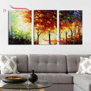 Dipinti a mano alberi toni caldi tele moderne
