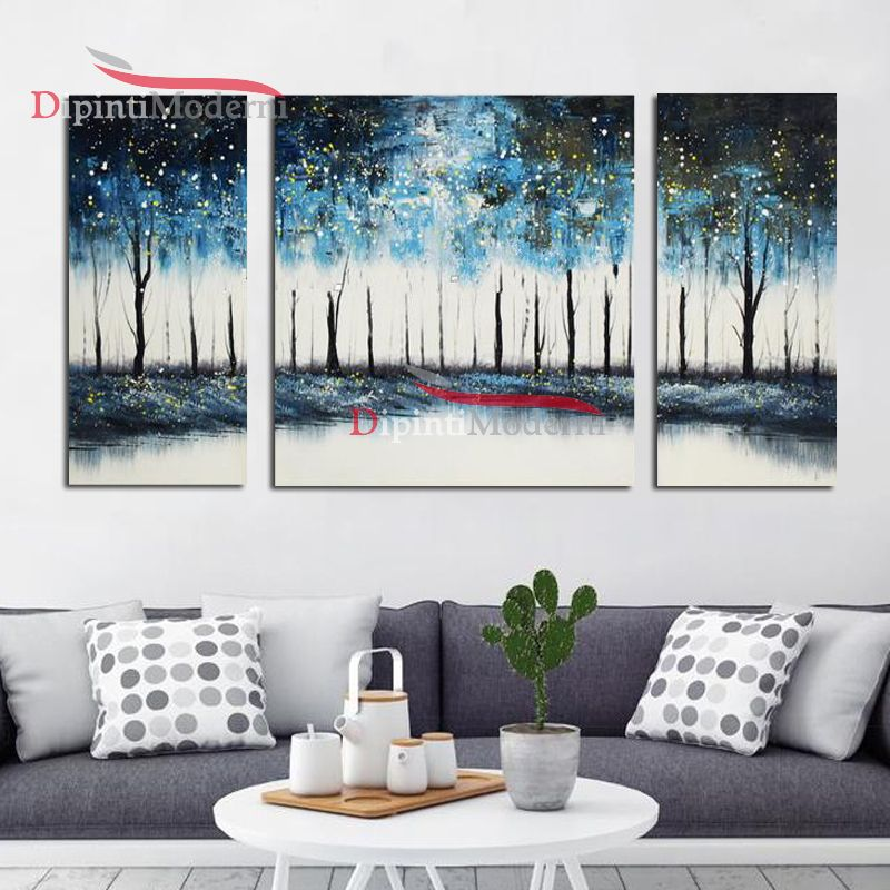 Dipinti su tela alberi azzurri su lago - Dipinti Moderni