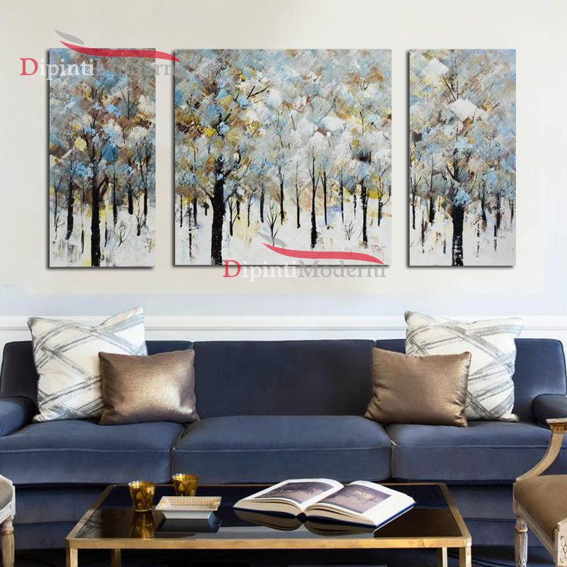 Dipinti su tela moderni foresta innevata - Dipinti Moderni