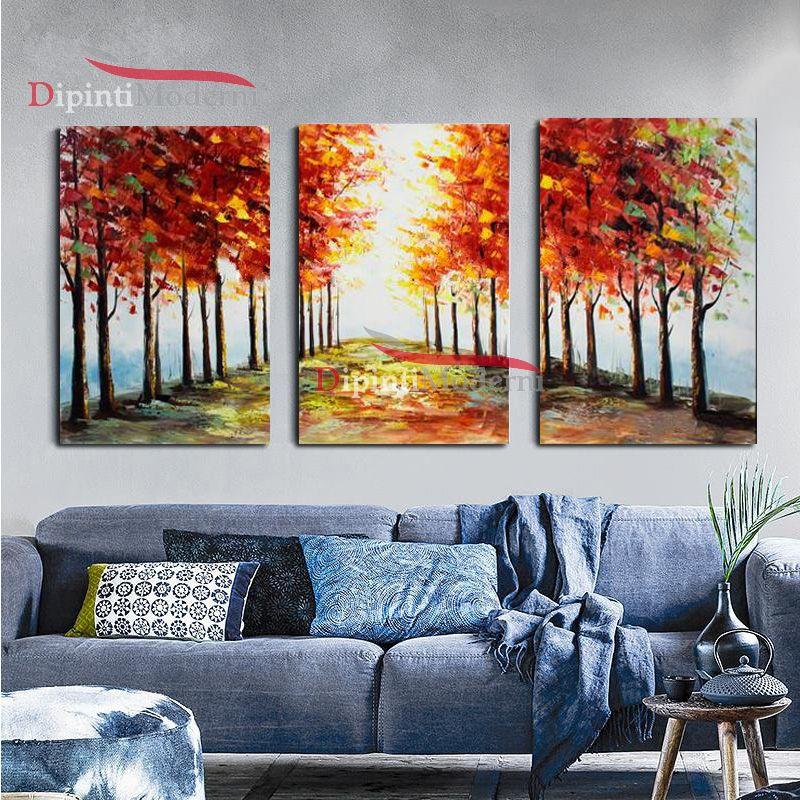 Dipinti su tela viale alberato autunno prospettiva moderni for Dipinti a mano su tela