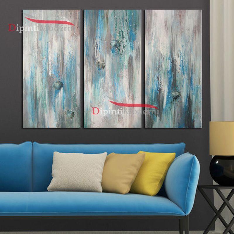 Dipinto sfumature azzurro grigio astratto decorativo ufficio