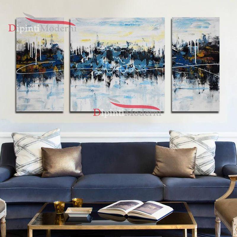 Quadri astratti azzurro bianco su tre tele dipinti moderni for Tele quadri