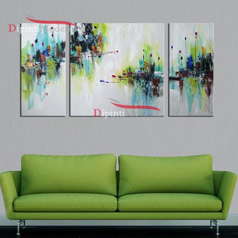 Quadri astratti soggiorno verde - Dipinti Moderni