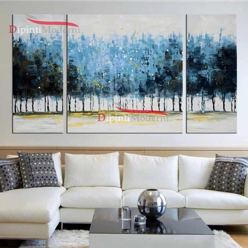 Quadri astratti su tela alberi azzurri arredo moderno for Quadri su tela astratti