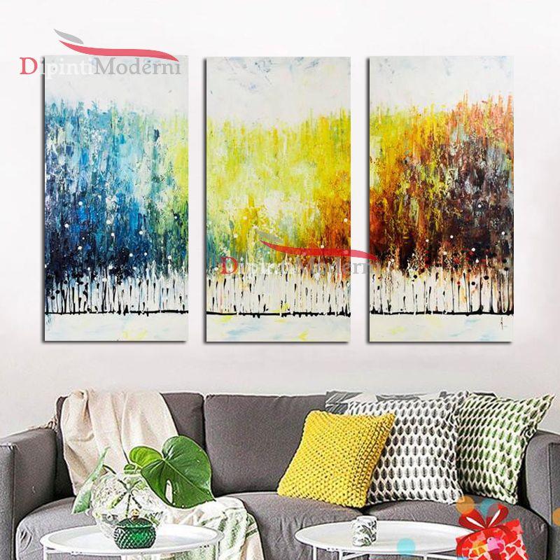 Quadri colori sfumati giallo blu bianco dipinti astratti for Dipinti su tela astratti moderni