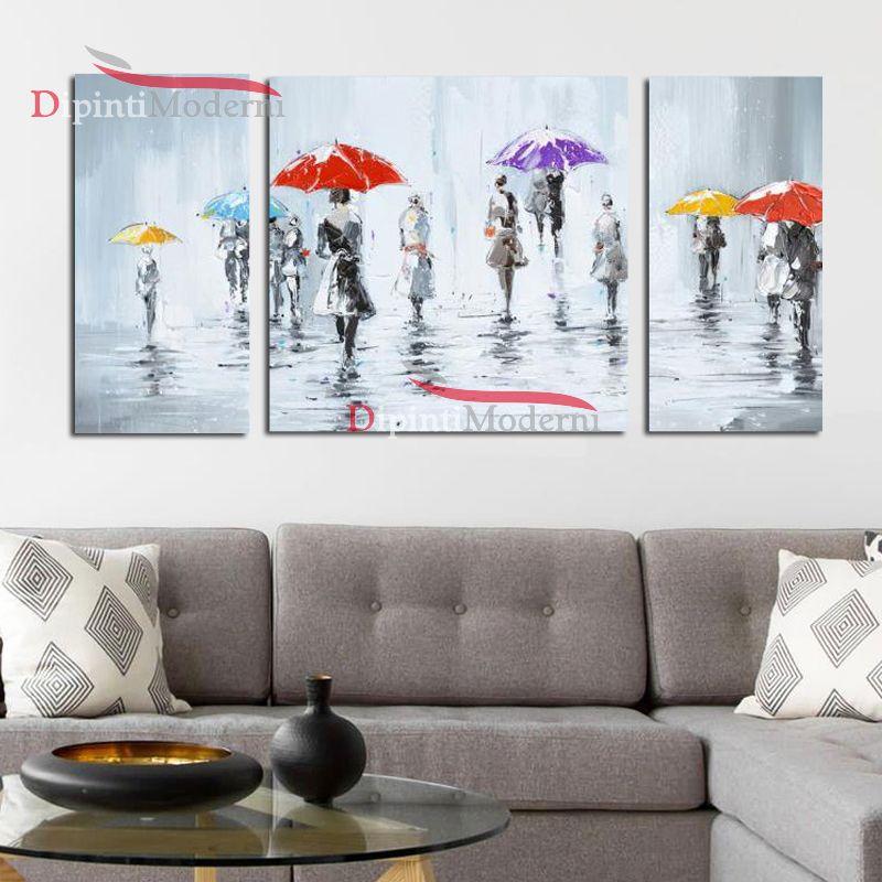 Quadri gente people ombrelli colorati dipinti su tela for Quadri moderni su tela