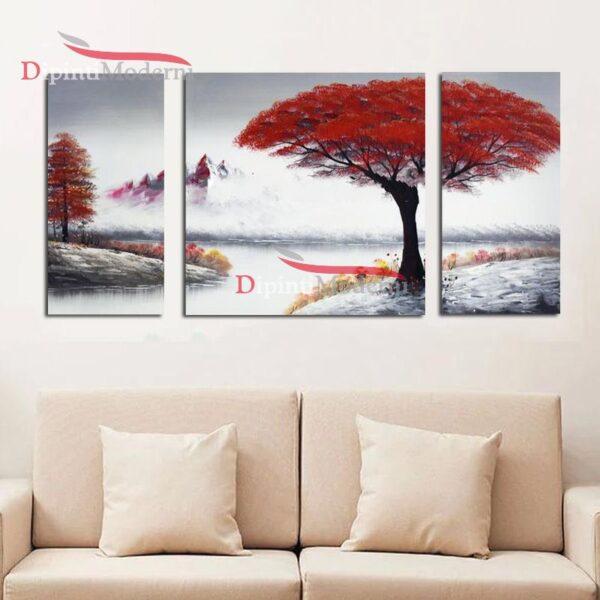 Quadri moderni alberi rossi dipinti a mano