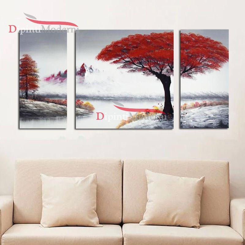 Quadri moderni alberi rossi dipinti a mano dipinti moderni for Quadri per soggiorni moderni