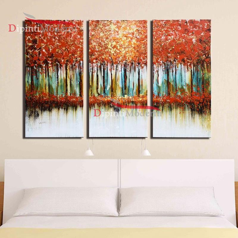 Quadri moderni dipinti su tela foresta alberi autunno rosso ...