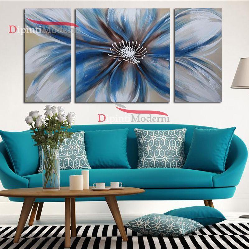 Quadri moderni fiore grande azzurro dipinti moderni for Quadri moderni fiori dipinti a mano