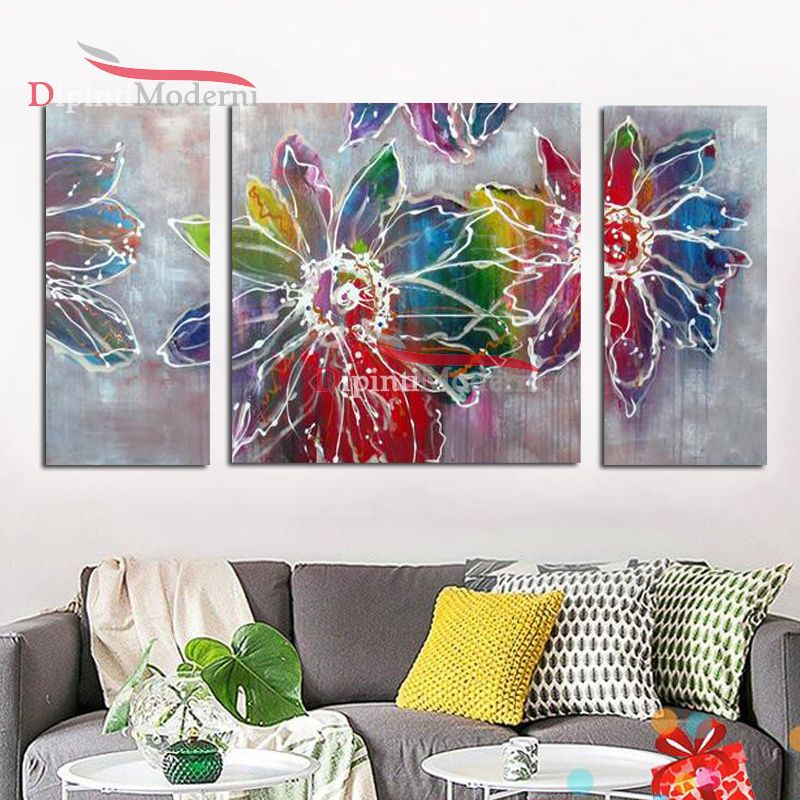Quadri moderni fiori colorati arredamento soggiorno - Dipinti Moderni