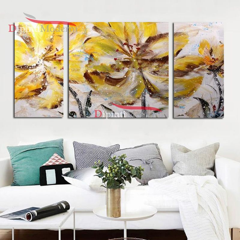 Quadri moderni fiori gialli spatolati