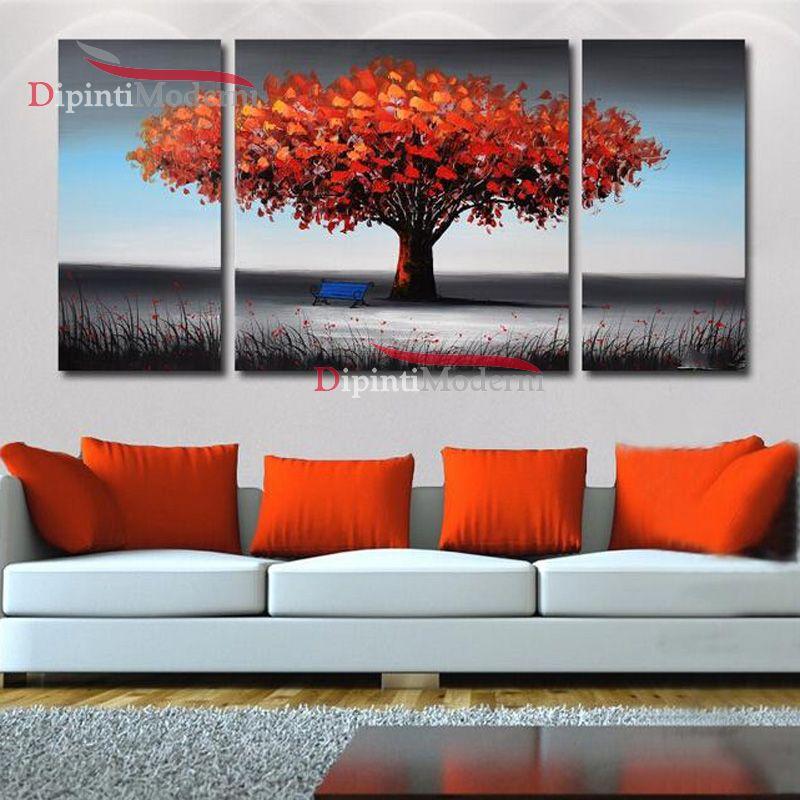 Quadri moderni trittici albero della vita rosso dipinti for Quadri trittici moderni