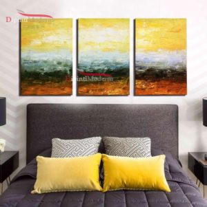 Quadri paesaggio sole giallo astratti camera da letto