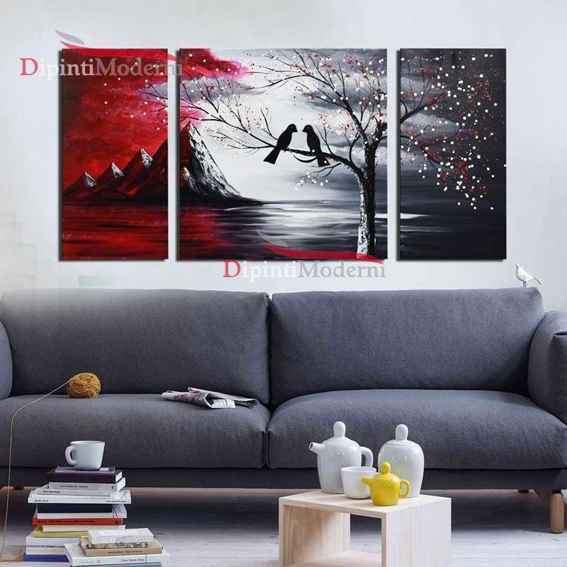 Quadro astratto paesaggio uccellini montagne cielo rosso - Dipinti ...