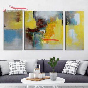 Quadro astratto trittico giallo decorativo soggiorno