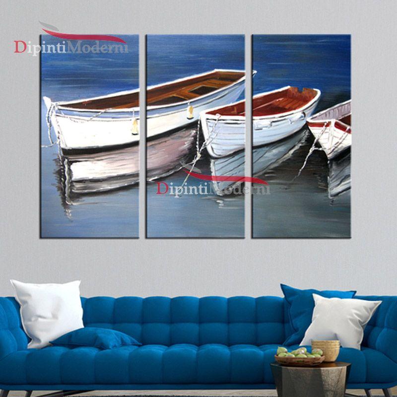 Quadro barche di legno bianche ormeggiate mare olio su tela
