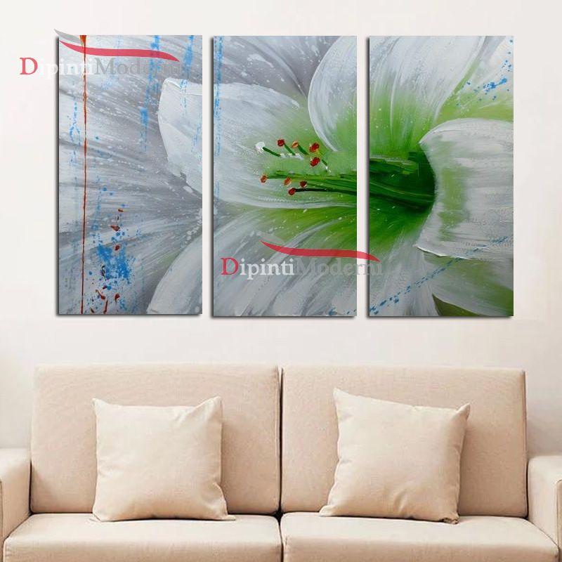 Quadro fiore grande bianco verde olio su tela