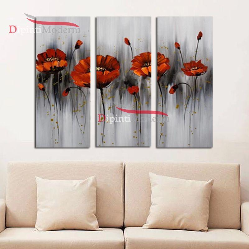 Quadro fiori rossi moderni olio su tela sfondo grigio - Dipinti Moderni