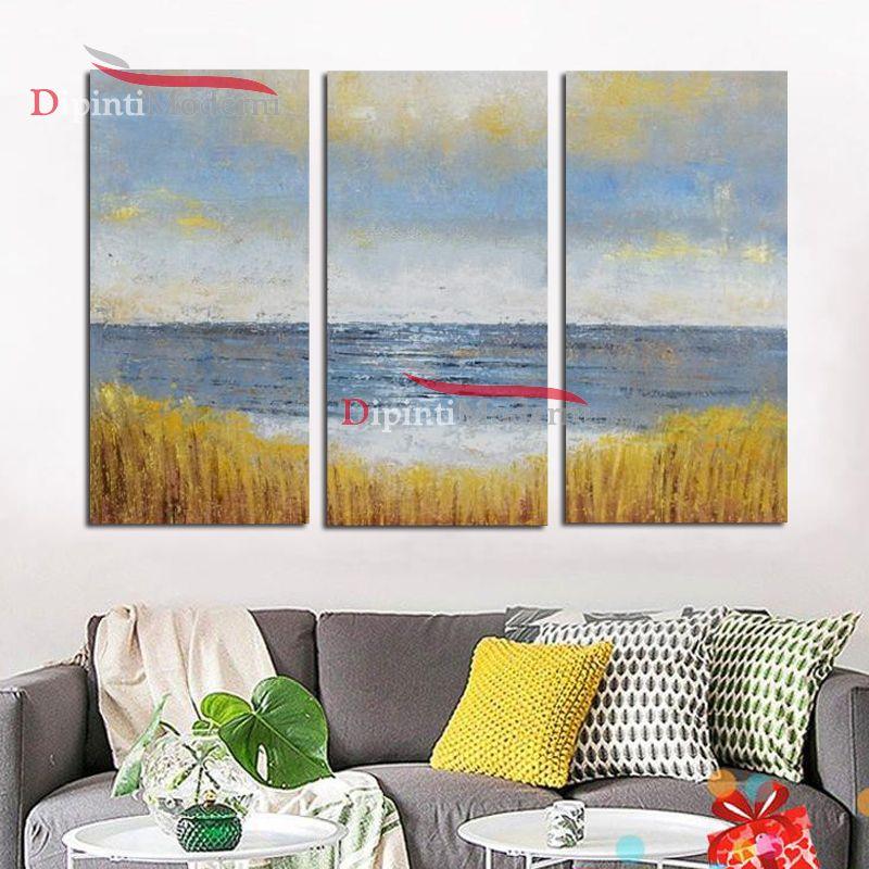 Quadro mare vista da campo di grano dipinto olio su tela moderno ...