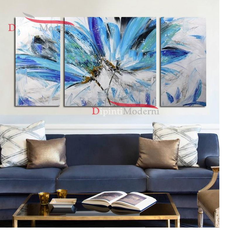 Quadri moderni fiori azzurri zona living - Dipinti Moderni
