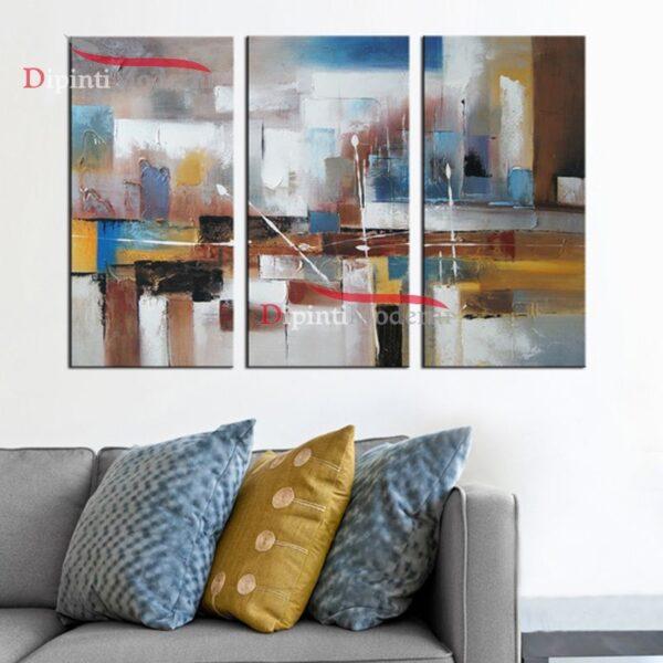 Quadro patchwork dipinto olio su tela marrone azzurro