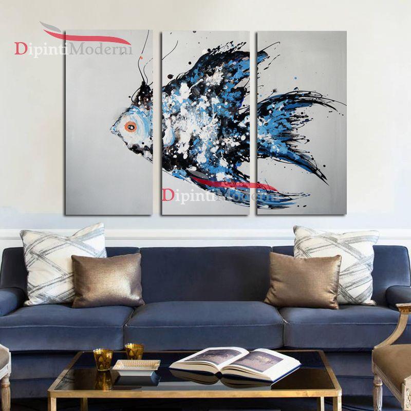 Quadro pesce azzurro dipinti moderni astratti olio su tela