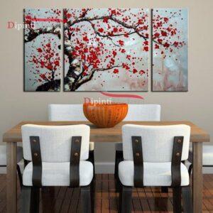 Quadro ramo fiori rossi dipinto su tre tele