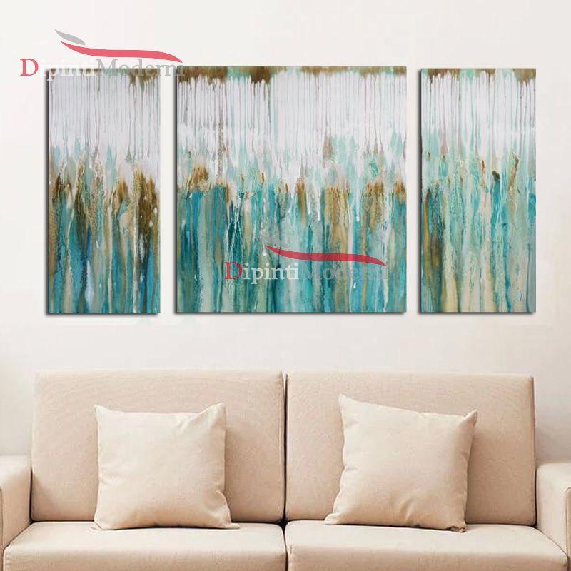 Quadro verde acqua pioggia astratto su tela - Dipinti Moderni