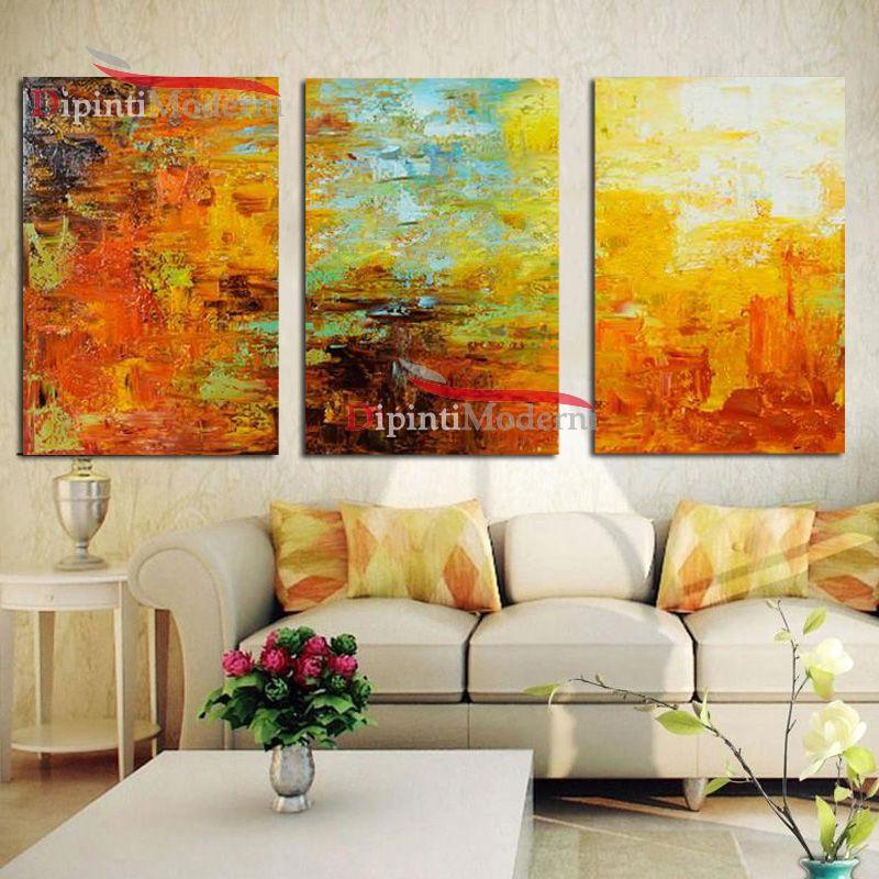 Dipinti a mano decorativi toni caldi zona living dipinti for Quadri decorativi moderni
