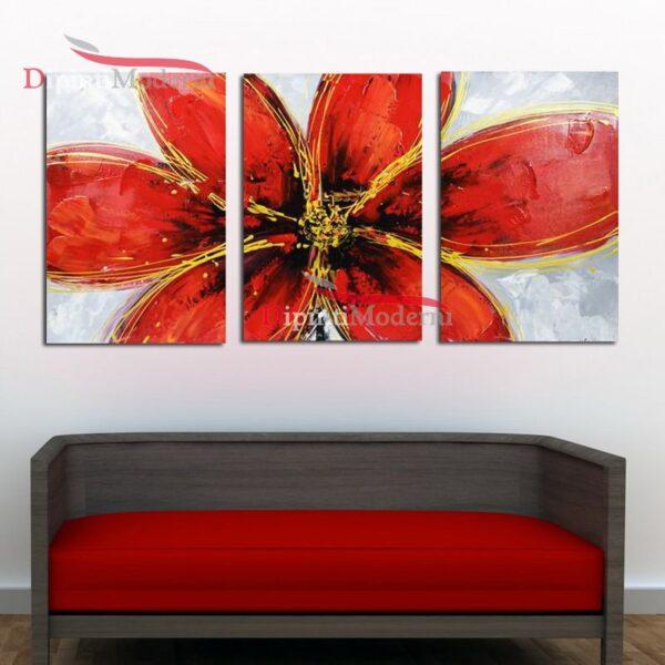 Dipinto a mano fiore petali rossi olio su tela
