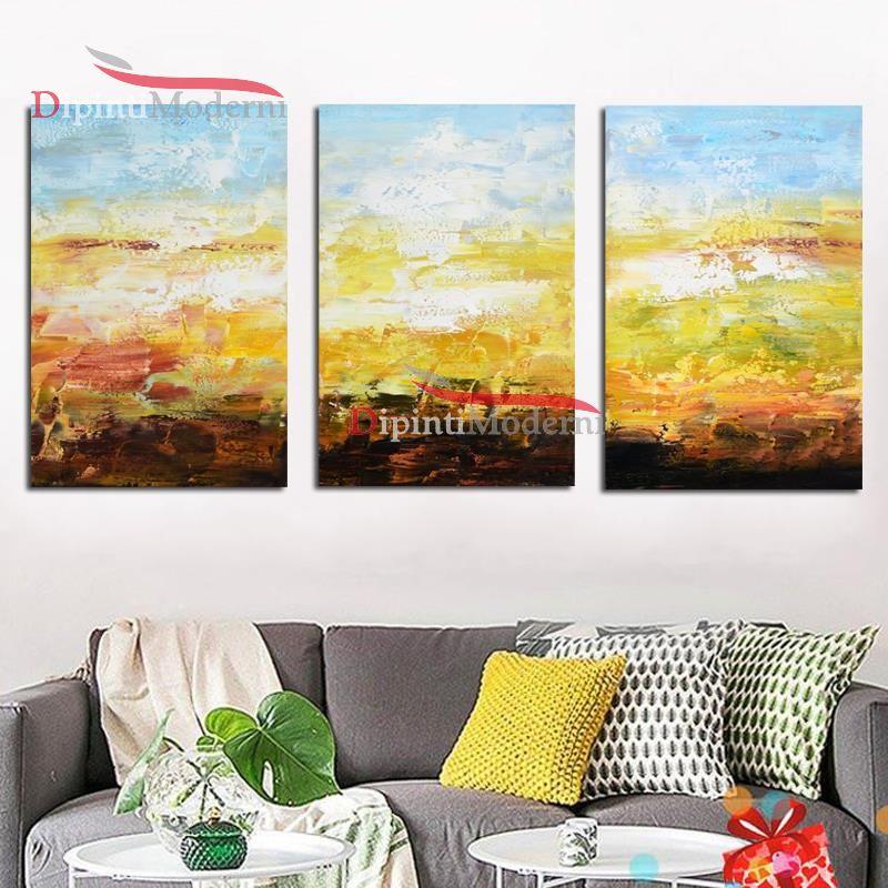 Dipinto giallo olio su tela arredamento soggiorno cucina moderna
