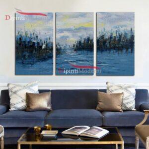 Dipinto olio su tela fiume blu su tre tele