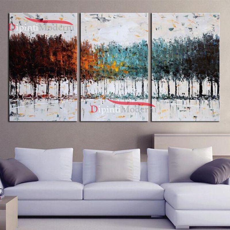 Paesaggio astratto alberi colorati dipinti a mano su tela for Dipinti a mano su tela
