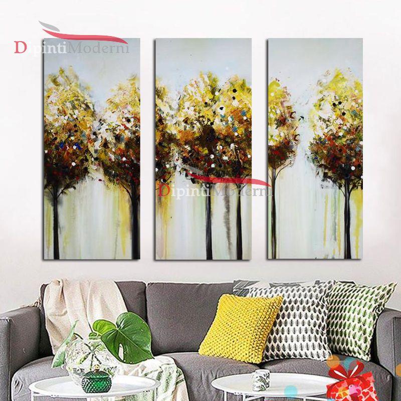 Quadri arredo con alberi gialli dipinti astratti dipinti for Quadri arredo