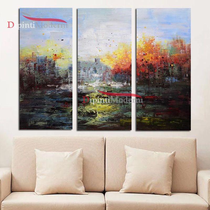 Quadri arte moderna paesaggio astratto sfumato dipinti olio su tela ...