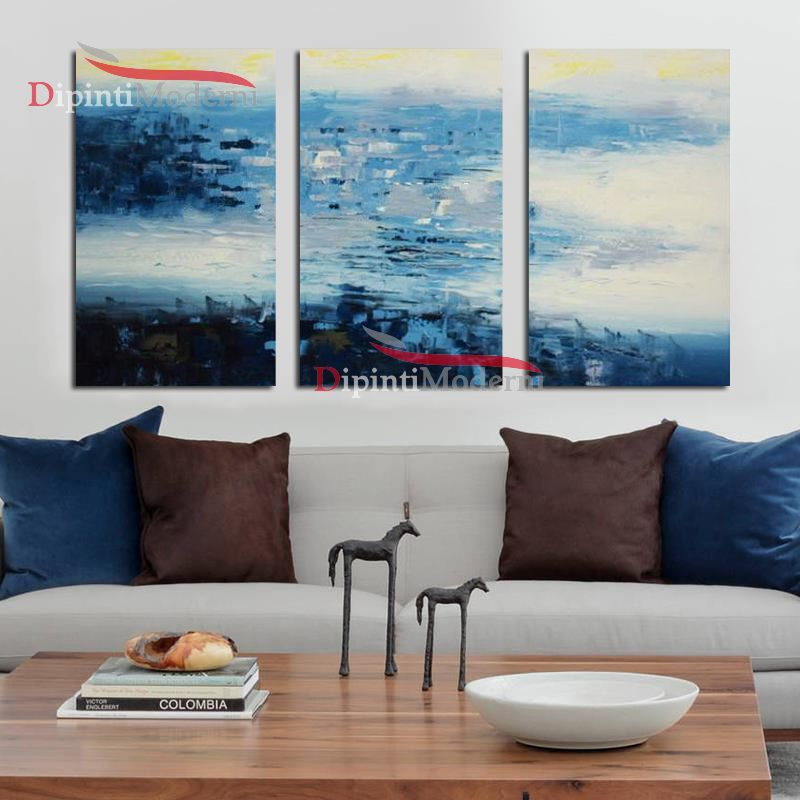 Quadri colori azzurri astratti decorativi ufficio - Quadri fonoassorbenti decorativi ...