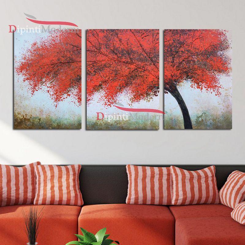 Quadri moderni rosso albero pittura su tela - Dipinti Moderni